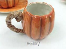 Pumpkin Tea Coffee Set 8 Pc. 1989 Hand Crafted Vintage Otagiri Japan Fitz Floyd