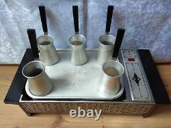 RARE SET Vintage Soviet Coffee Machine on the sand Espresso Maker USSR Turka
