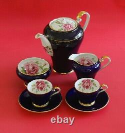 RARE Vintage Aynsley Tea/Coffee Pot Set Cups Saucers Cobalt Blue Pink Roses Gold