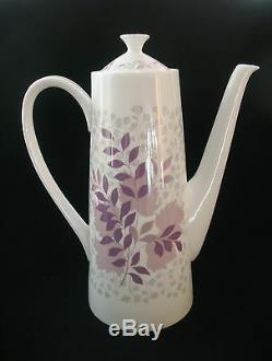 ROYAL TUSCAN FOREST GLADE COFFEE SET for 6 Pink Vintage China Retro c1960s
