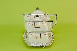 Rare 1930 Art Deco Coffee Set Tea Teapot Pot Creamer Platter Tray Unique Vintage