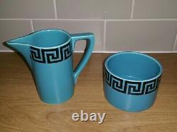Rare Portmeirion Susan Williams-Ellis Greek Key Coffee Set Blue Black Vintage