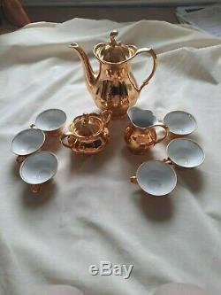 Rare Rudolf Wachter Bavaria Vintage Porcelain with Gold Overlay Coffee Set