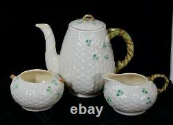 Rare! Vintage Belleek Pottery Shamrock Pattern 3 Piece Coffee Set Mint