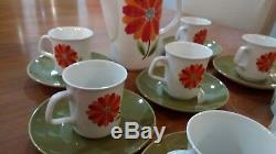 Rare Vintage J & G Meakin Red and Orange Flower Coffee Set'Dahlia Coffee pot