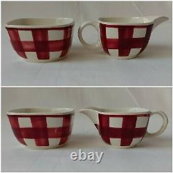 Rare Vintage T G Green Coffee Set Patio Gingham Red Pattern Cups Saucers Pot etc
