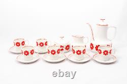 Red flowers Vintage 6 person Hollohaza porcelain coffee set With floral motif