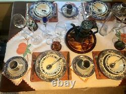 Retro Tablescape Vintage Dinner Set With Plates, Bowls, Glasses & Coffee Set