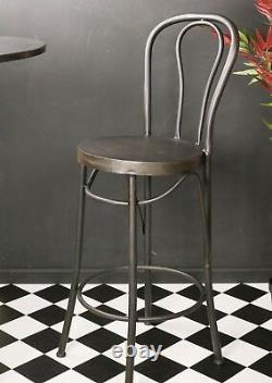 Retro Vintage Bar Table Tall Chairs Set Stools Seats Metal Cocktail Wine Coffee