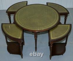 Round Coffee Table With Set 4 Nest Tables Under Mahogany Green Leather Tops