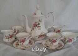 Royal Albert Moss Rose Coffee Set Vintage 1980's Fine Bone China England Vgc