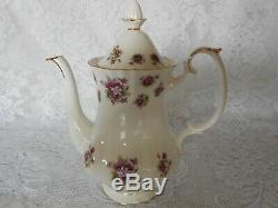 Royal Albert Sweet Violets English Bone China Coffee Set Ex Condition