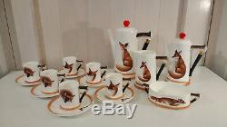 Royal Doulton Reynard the Fox demitasse coffee set vintage hunting collectable