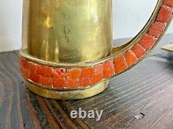 Salvador Teran Vtg Mid Century Modern Brass Mosaic Glass Tile Coffee Set Tray