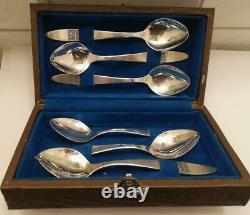 Set 6 Pcs Antique Vintage Soviet Russian Sterling Silver 916 Coffee Tea Spoons