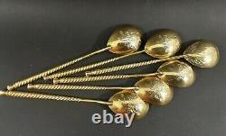 Set 6 Silver Spoons (tea, coffee) Vintage USSR Gilt Silver 875 +original box KIEV