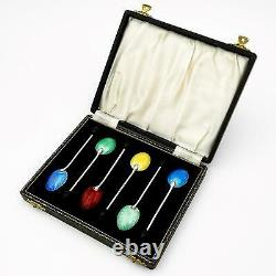 Set 6 Vintage STERLING SILVER GUILLOCHE ENAMEL COFFEE SPOONS BOXED 1952 HCD