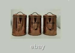 Set Of 3 Copper Storage Jars Tea Coffee Sugar Canisters Air Tight LID Container