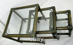 Set of 3 Vintage Nesting Coffee Side Tables Faux Bamboo Rattan Lounge