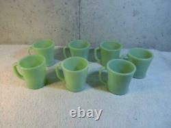 Set of 7 Vintage Fire King Oven Ware Jadeite D Handle Coffee Mugs