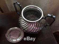 Sheffield Silver Tea Coffee Set Lot 19th C VTG Creamer Sugar Pots Ribbed English