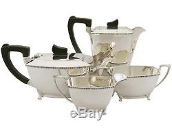 Sterling Silver Four Piece Tea & Coffee Set Art Deco Style Vintage 1955
