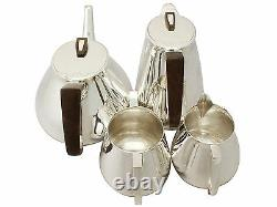 Sterling Silver Four Piece Tea & Coffee Set with Tray, Design Style, Vintage