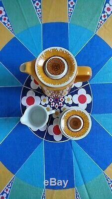 Stunning Vintage 1970s Egersund Korulen Solsikke pattern Coffee set