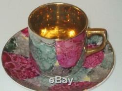 Stunning Vintage Cased Gilt Lustre Coffee Set & 6 Silver Spoons B/ham 1930