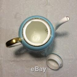 Stunning vintage Wedgwood coffee set, rare pattern W4175 turquoise 13 pcs(+2A/F)