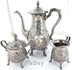 Superb Vintage Quality Hand Chased Repousse Silverplate 3 Piece Coffee Setting