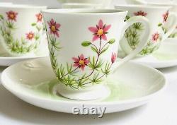 Tuscan Coffee Set cups saucers English bone china Meadow Sweet vintage