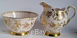 Tuscan Vintage Coffee Set for 6, Dubarry Rose, Rare, Pink china, rosebuds, Gold