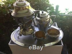VINTAGE (7) Piece MANNING BOWMAN & CO. MERIDEN, CT USA Chrome Coffee Set & Tray