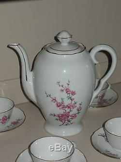 VINTAGE FRENCH COFFEE SET Porcelain LIMOGES BERRY LOURIOUX signed Gold rims
