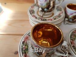 VINTAGE, R. CAPODIMONTE E&B COFFEE SET CIRCA 1920-30`s RARE