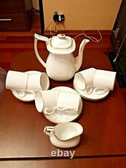 VINTAGE SPODE Bone China White & Gold Demitasse Flat Coffee Set ca 1970-1980