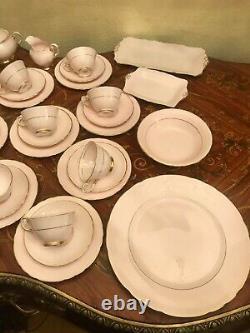 VTG 12 Cups, Saucers n Plates Tuscan Fine English Bone Rose Porcelain Coffee Set