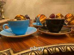 VTG 18 cups 18 Saucers Royal Copenhagen Aluminia Faience Confetti Coffee Set