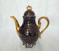 VTG BAVARIAN ECHT KOBALT HANDARBEIT COFFEE TEA SET WITH TRAY BLUE WithGOLD FLORAL