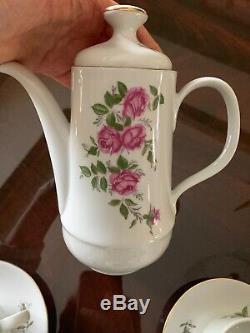 VTG KAHLA PORCELAIN TEA/DEMITASSE COFFEE SET! Roses, 14 Pc GDR EAST GERMANY Exc