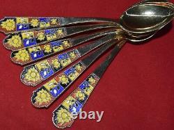 VTG RUSSIAN SOVIET SILVER 875 hot ENAMEL SPOON TEA COFFEE gold plated SET 136 gr