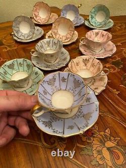 Vintage 10 Cups 10 Saucers German Lindner Kueps Bavaria Porcelain Coffee Set
