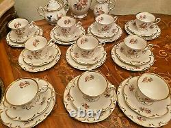 Vintage 10 Cups Saucers Cake Plates French Marie-Antoinette Porcelain Coffee Set