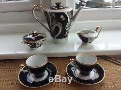 Vintage 1950's Johann Haviland RRW Bavaria Gilded Coffee Set for Two