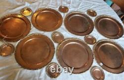 Vintage 1950s 60s Copper and Brass Coffee / Tea Serving Set Mexican Silversmith
