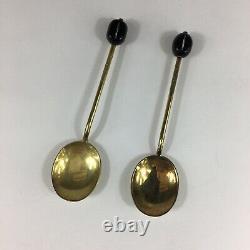 Vintage 1972 Solid Silver Guilloche Enamel Set Of 6 Coffee Bean Spoons 9.5cm