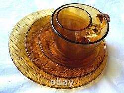 Vintage 30 Piece Amber Glass Set Tea & Coffee Service, Coffee Mugs & Side Plates