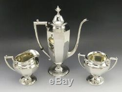 Vintage 3pc Sterling Silver Frank M Whiting Art Deco Panel Style Tea Coffee Set