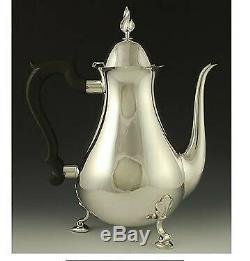 Vintage 3pc Tiffany & Co Heavy Sterling Silver Tea Coffee Set Flame Finials